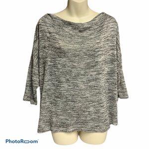 Dana Buchman gray/silver cowl neck top size L